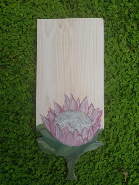 Hand painted protea snackboard - white background picture