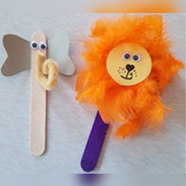 Animal puppets (set of 2) -elephant and lion (weight 20g) picture