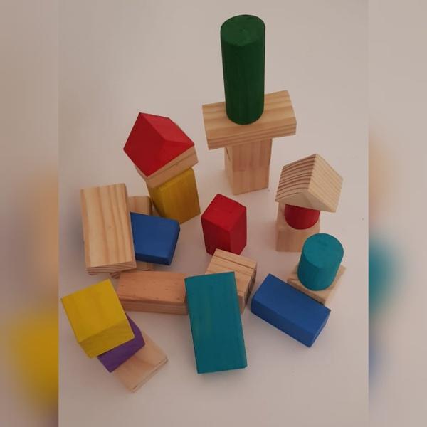 Medium sets wooden building blocks -weight 696g picture