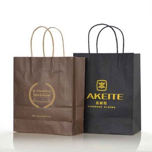 100 custom printed paper shopping bags - with handles picture