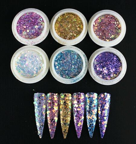 6 pcs glitter sequins picture