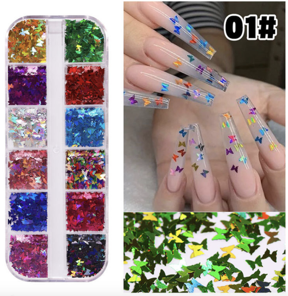 12 pcs butterfly nail decoration 1 picture