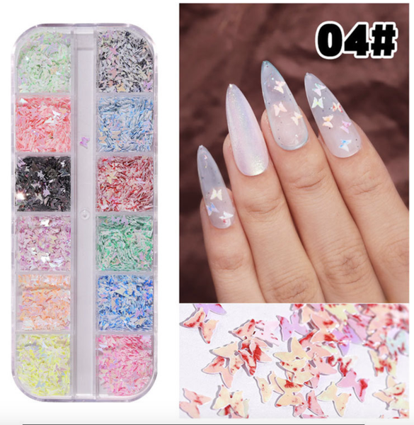 12 pcs butterfly nail decoration 4 picture