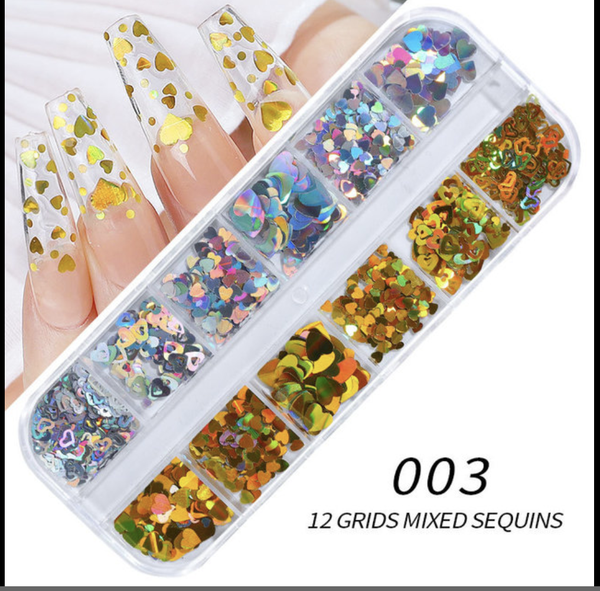 12 grids silver gold heart nail decration picture