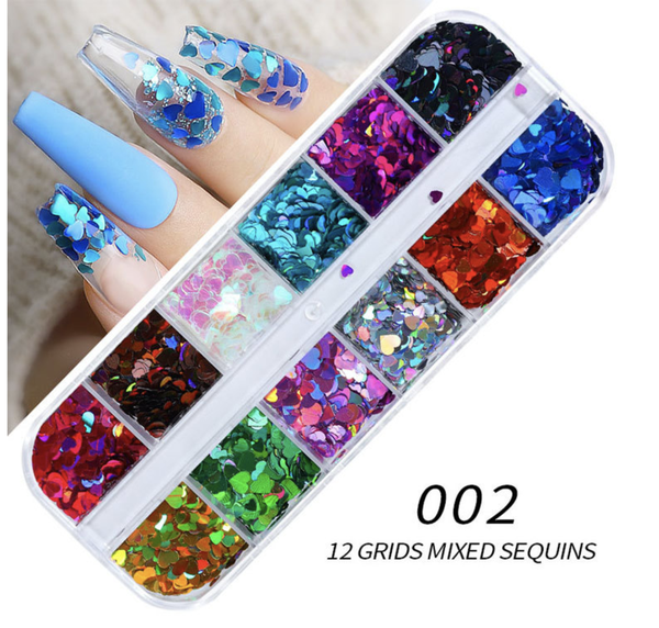 12 grids colorful heart nail decoration picture