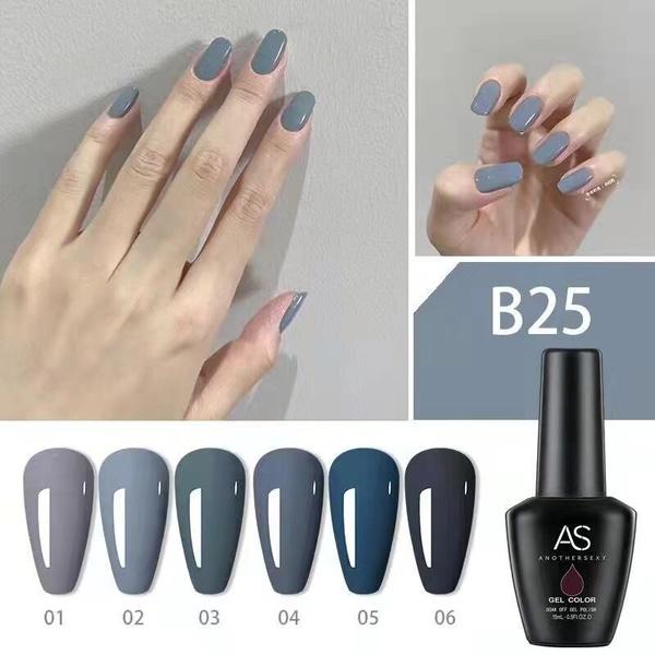 6 x 15 ml as uv/led gel nail polish set b25 picture