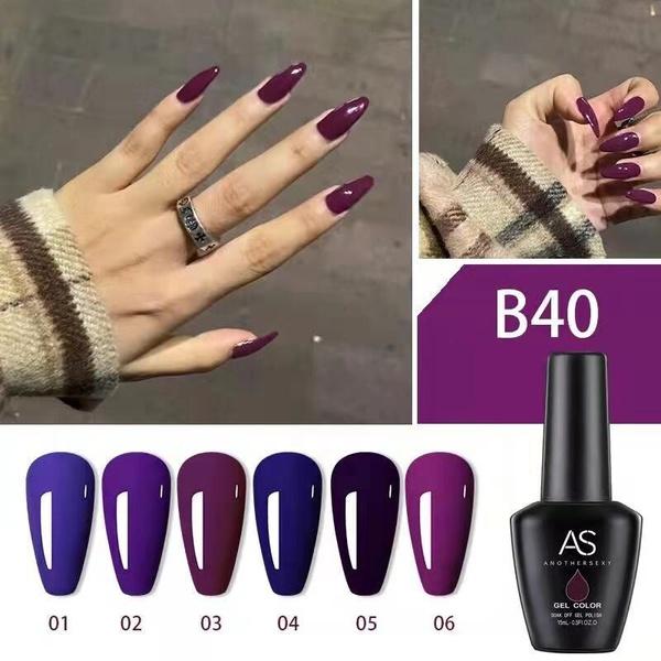 6 x 15 ml as uv/led gel nail polish set b40 picture