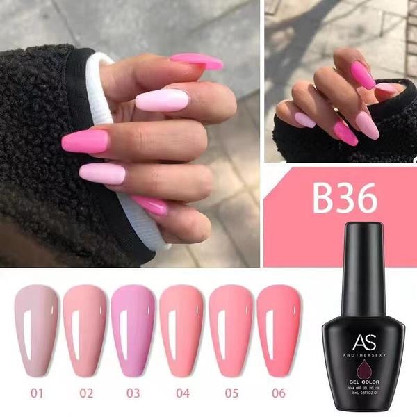 6 x 15 ml as uv/led gel nail polish set b36 picture