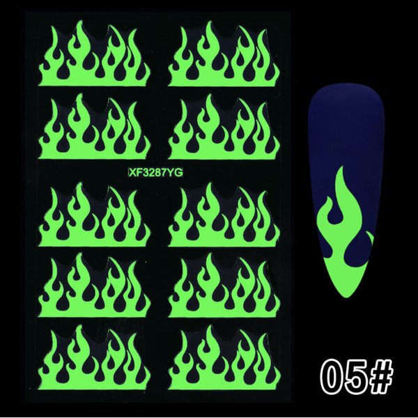 Glow in dark nail sticker fire picture