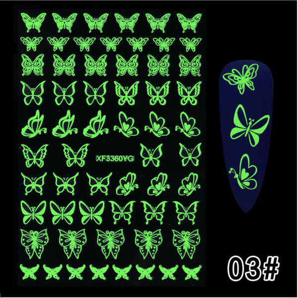 Glow in dark nail sticker butterfly picture