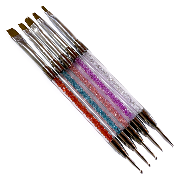 Dual end gem dotting tool and gel brush set 5pc picture