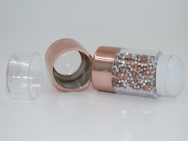 Silicone diamond handle rose gold double headed stamper 8, 5 cm picture