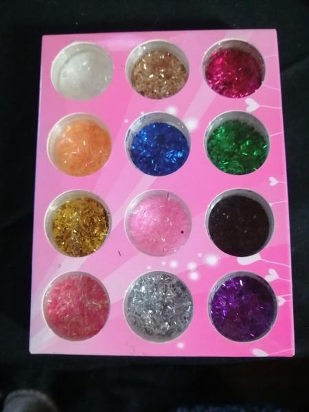 12 pcs line mix color glitter picture