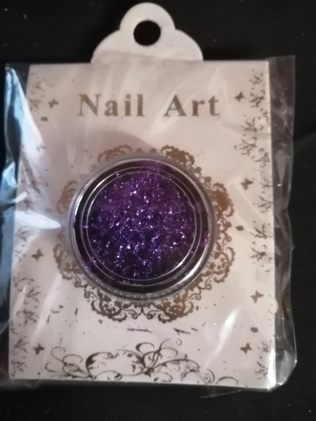 Purple nail glitter flakes picture