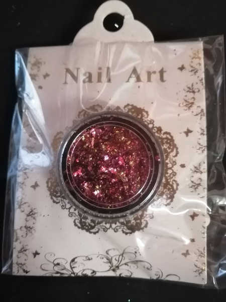 Pink gold nail flakes picture