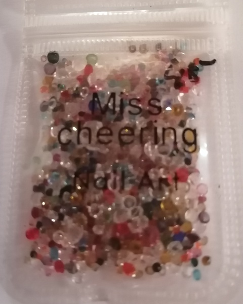 Miss cheering nail art mix rhinestones picture