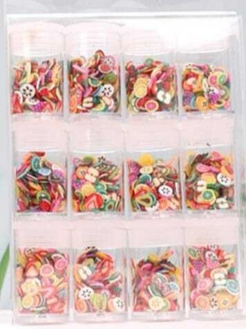 12 pcs fruit fimo picture