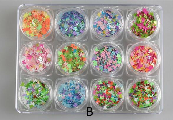12 pcs butterfly sequins set mix picture