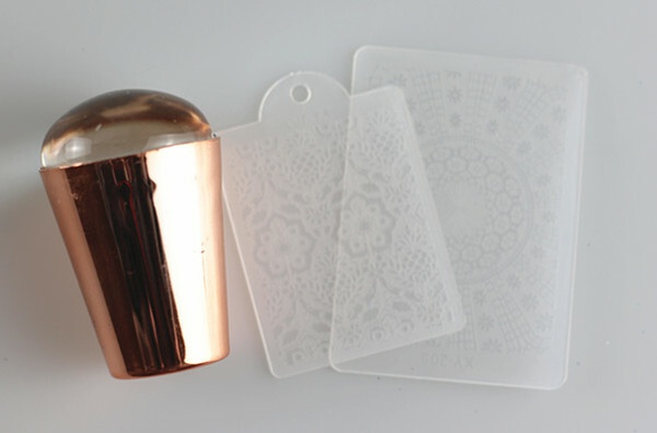 Platinum rose gold stamper with 2 scrapers picture