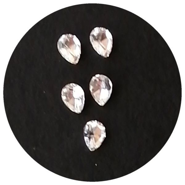 5 pcs nail charms clear stone 1 picture