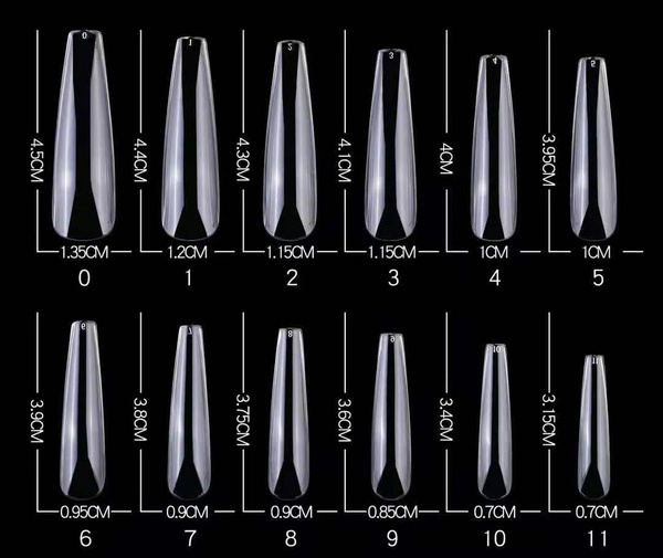 100 pcs long full nail coffin tips  clear picture