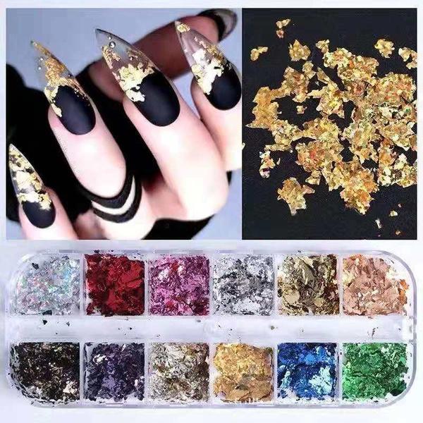 12 pcs solid mix color nail foils cby pure color picture