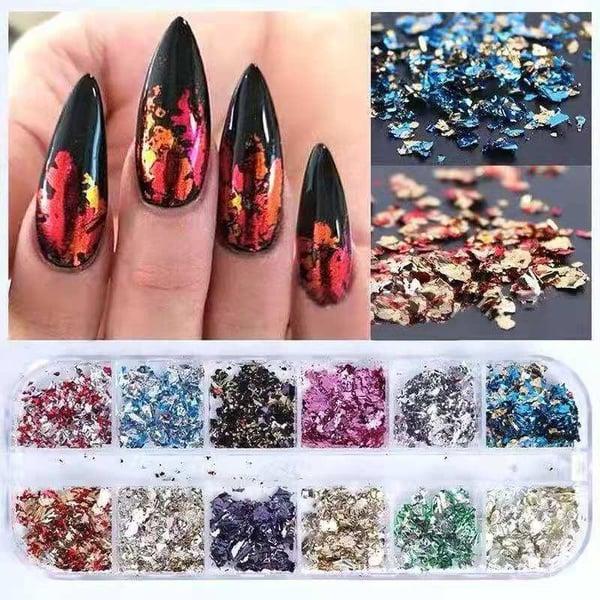 12 pcs solid mix color nail foils cby mix color picture