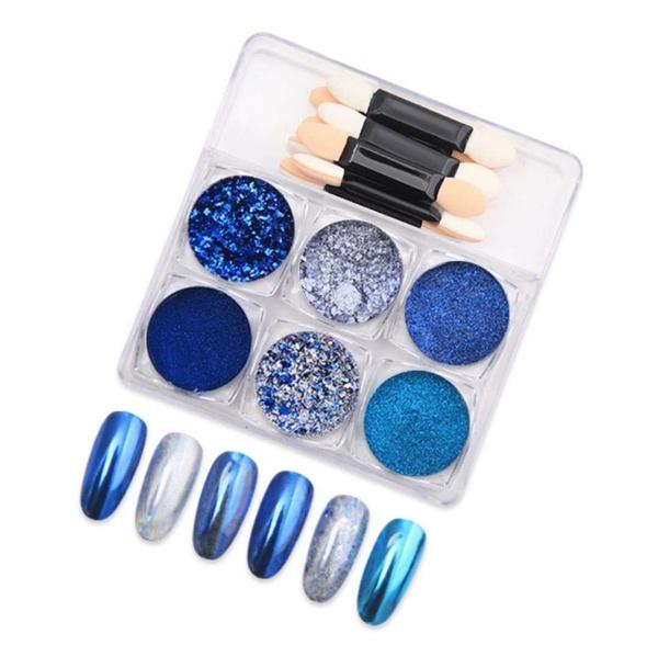 Powder + glitter set 6 pcs with brush blue picture