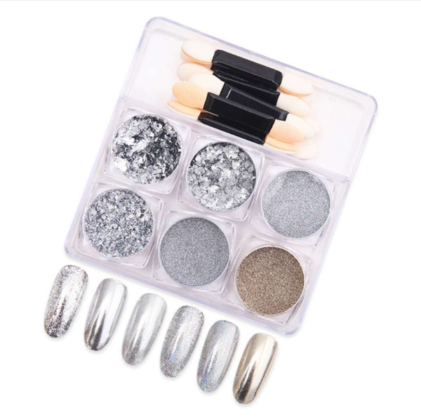6 pc s nail decorations - silver picture