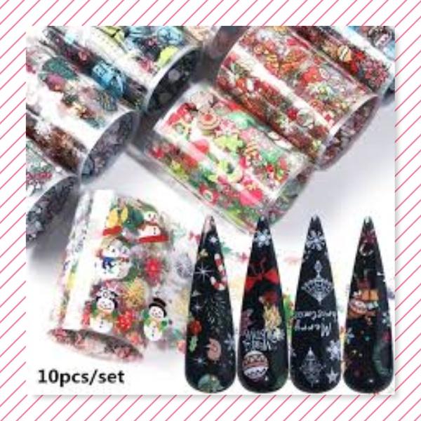 10 pc s christmas nail foils box c-2 picture