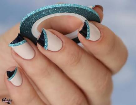 Striping glitter role & wave striping role - light blue picture