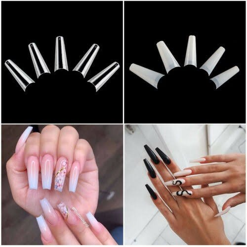 100 pc s new shape ballerina cut out tip. natural picture