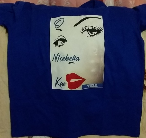 Printed round neck blue tshirt picture