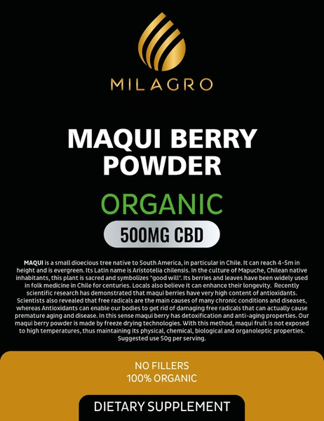 Milagro maqui berry powder 500mg cbd picture