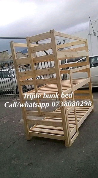 New sturdy pine triple bunk beds picture