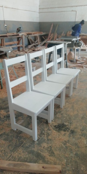 Pine chairs,desks and tables picture