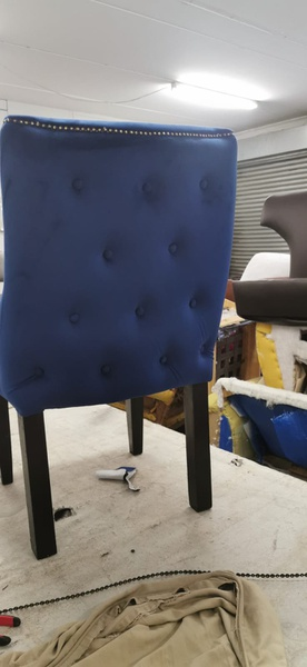Blue velvet chairs picture