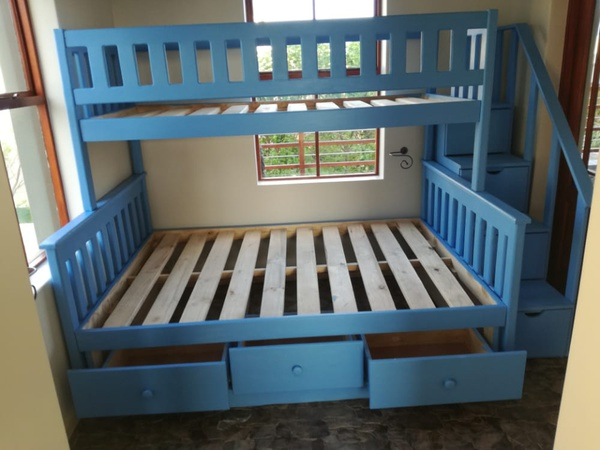 Storage drawer staircase tri bunks picture