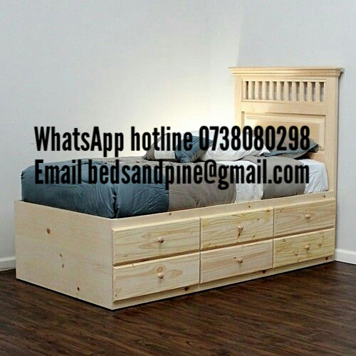 Sturdy pine beds with storage drawers picture