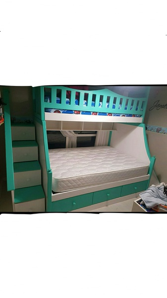 Exclusive designer storage drawer staircase tri bunks with slide picture