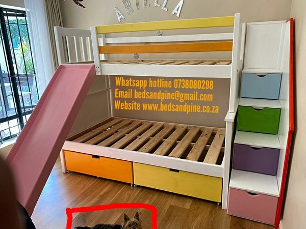 Custom made tri bunk(3/4+single) with slide picture