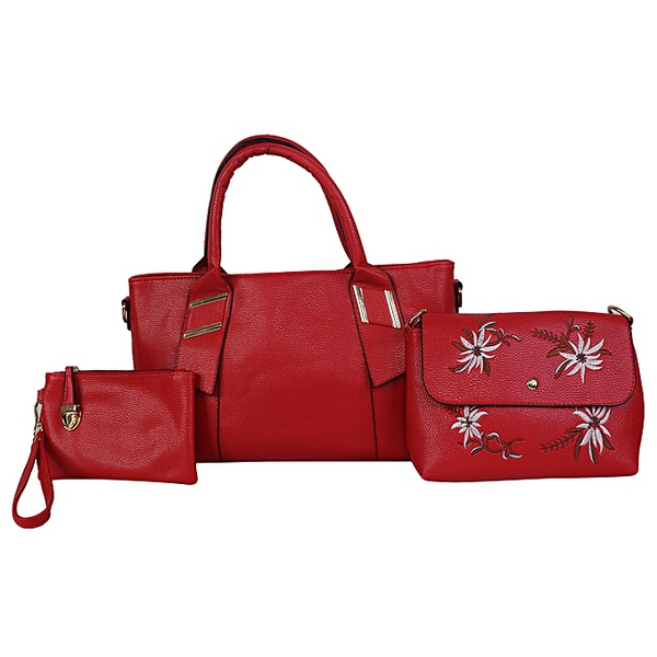 White label 3 piece hand bag set - red picture