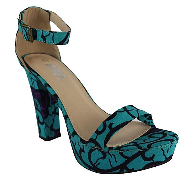 Dmg ankle strap platform block heel sandals - blue/multicolour picture