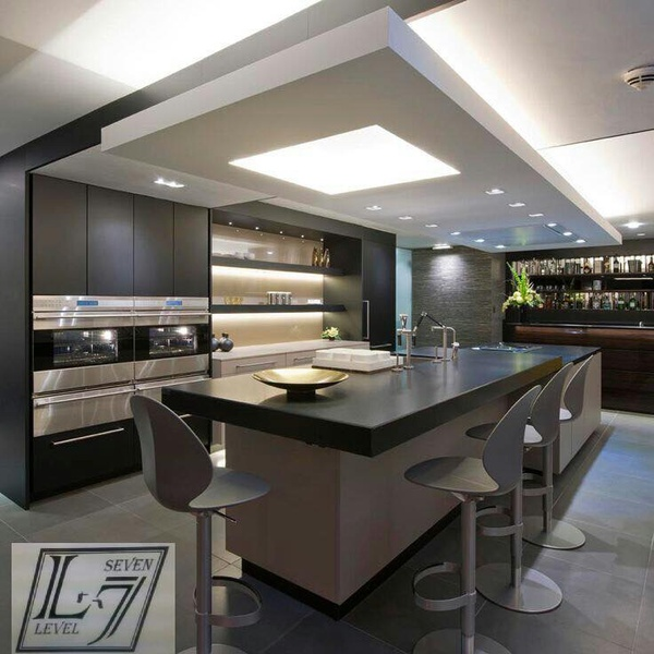 Kitchen with stylish ceiling picture