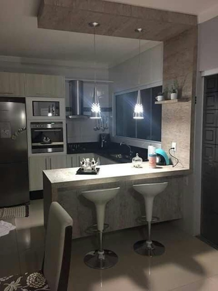Built-kitchen with downlights picture