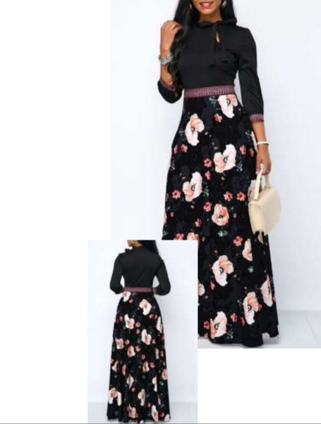 Long sleeve black floral neck tie dress picture