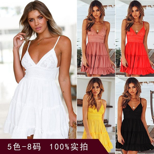 Woman's v neck sling halter lace spring an summer picture
