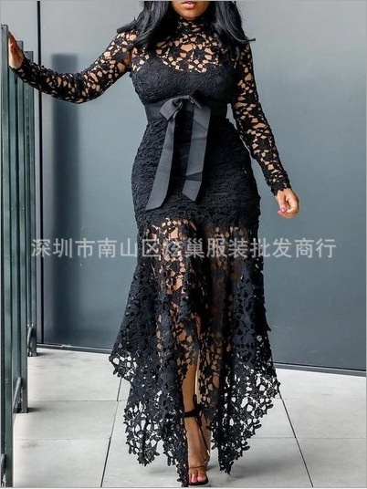 Long sleeved lace with a stand up collar belt picture