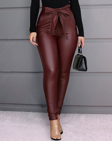 Women's pu pants leather pants( including) belts picture