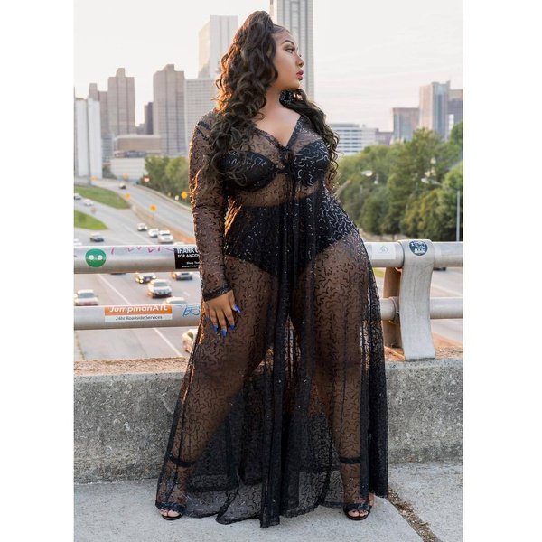 Plus size new transparent  sexy dress picture